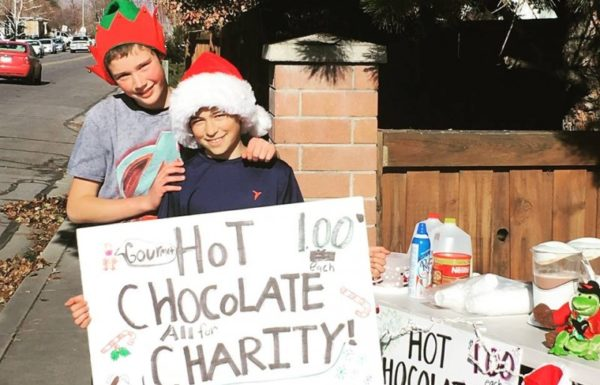 children selling hot chocolate