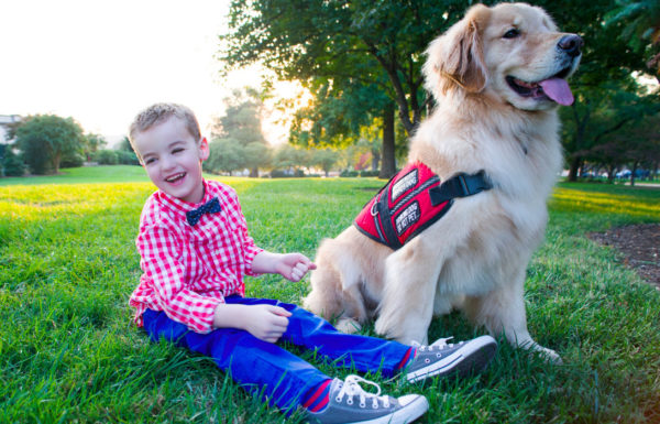 young boy with service dog