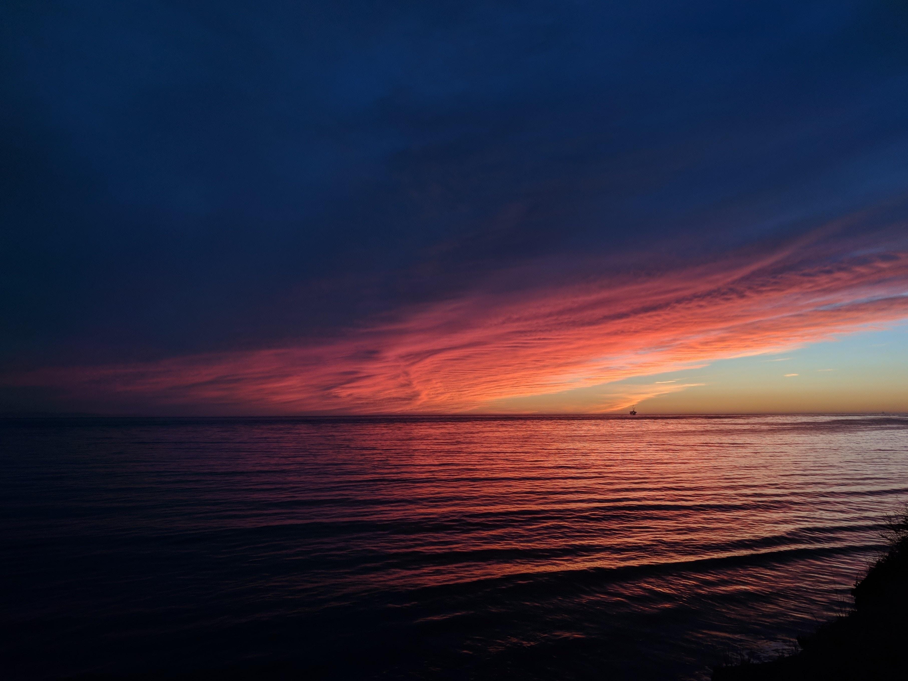 sunset over an ocean