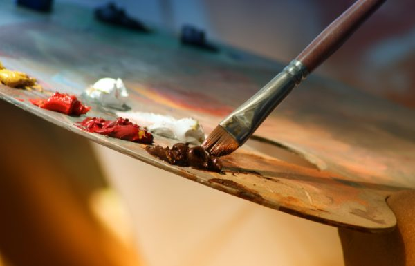 Paintbrush and paints