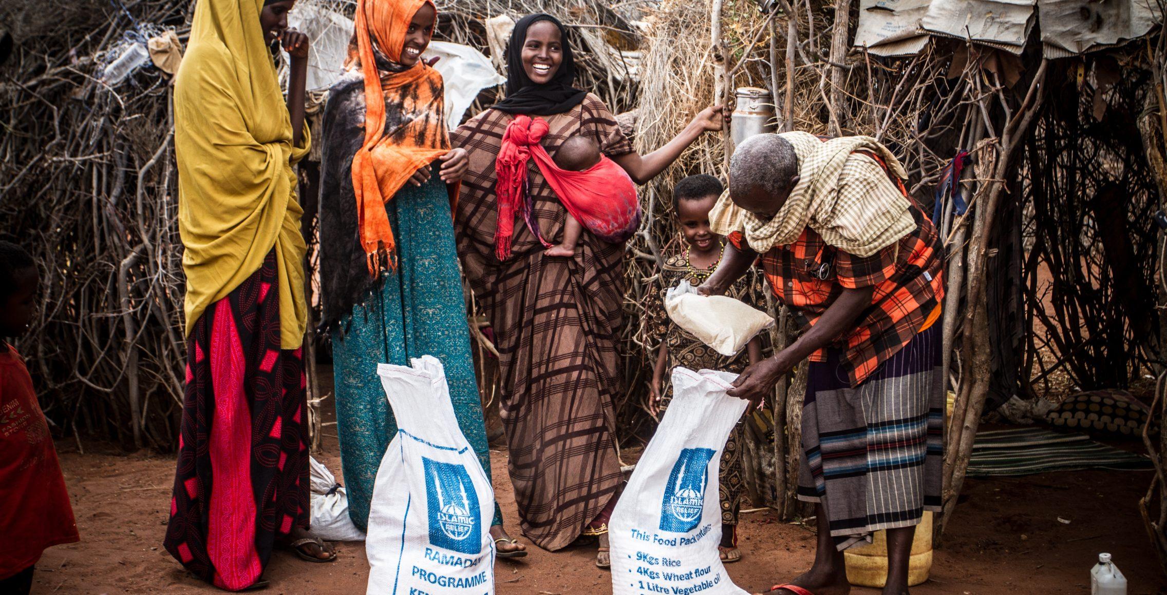 People in Kenya receiving food