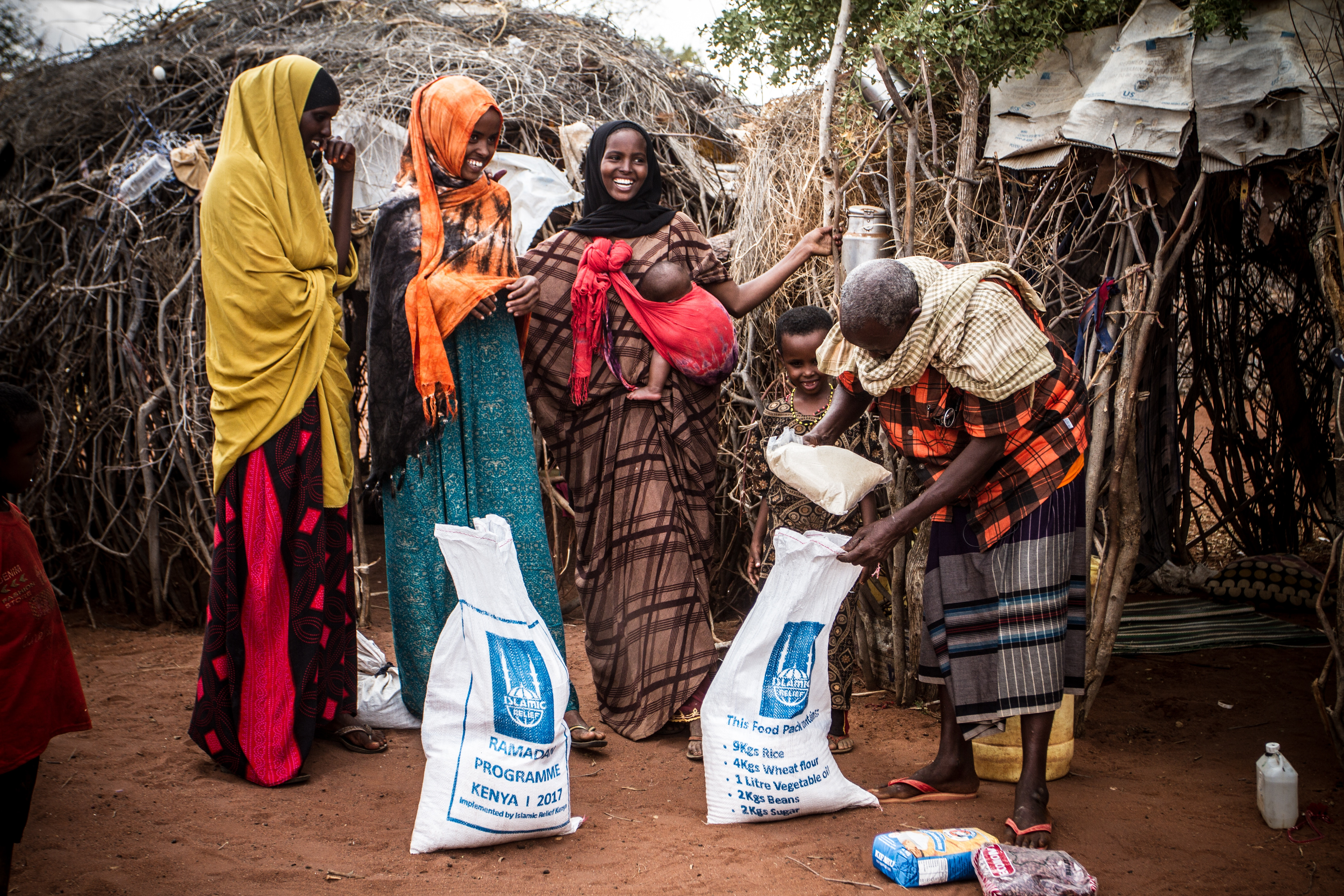 People in Kenya receiving food