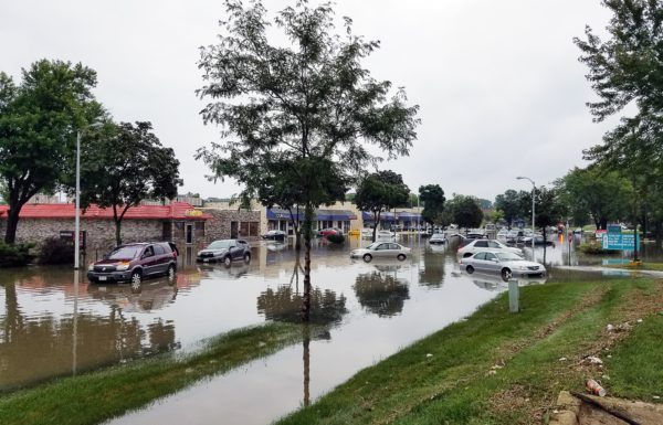 A flooded parking lot