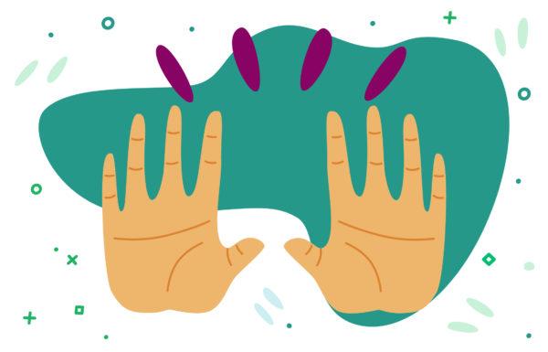 mains de face