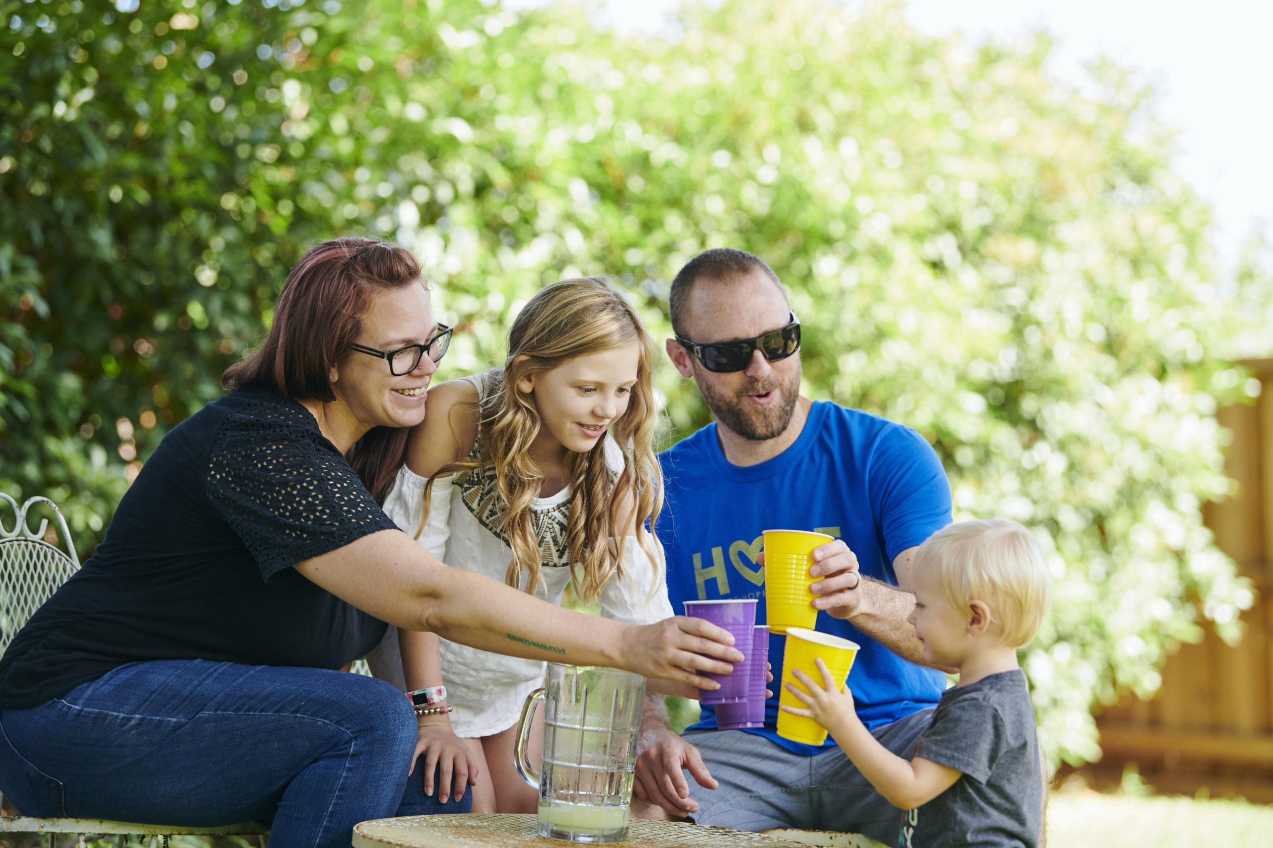 Family cheers with lemonade