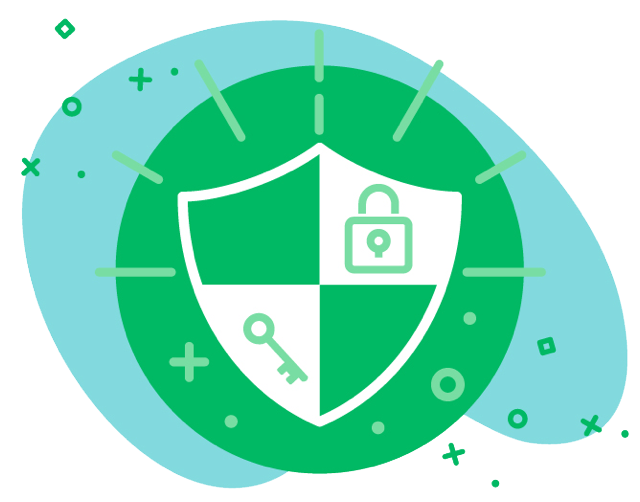 SEO graphic of a blue and green shield featuring a lock and key