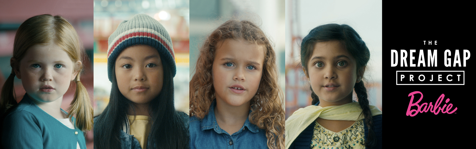 four portraits of faces of young girls