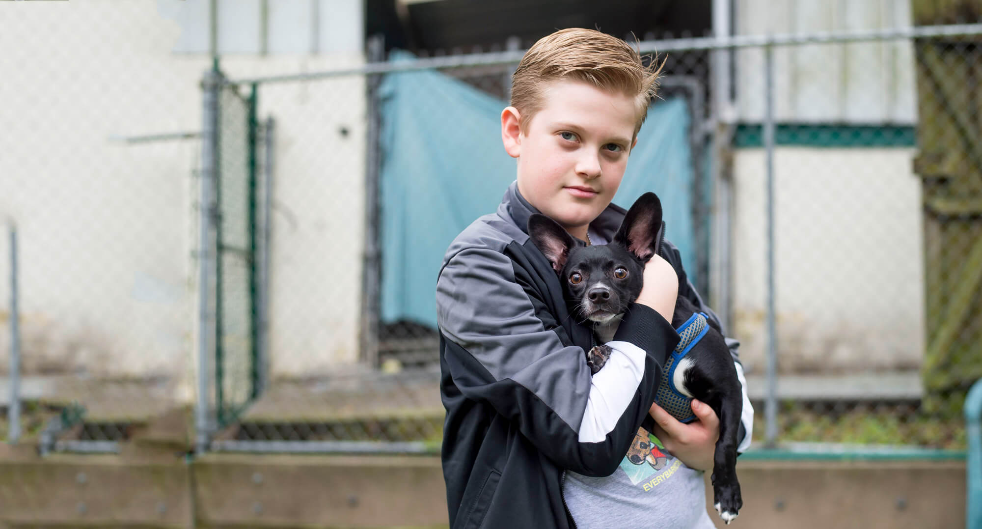 Young boy holding a small black dog