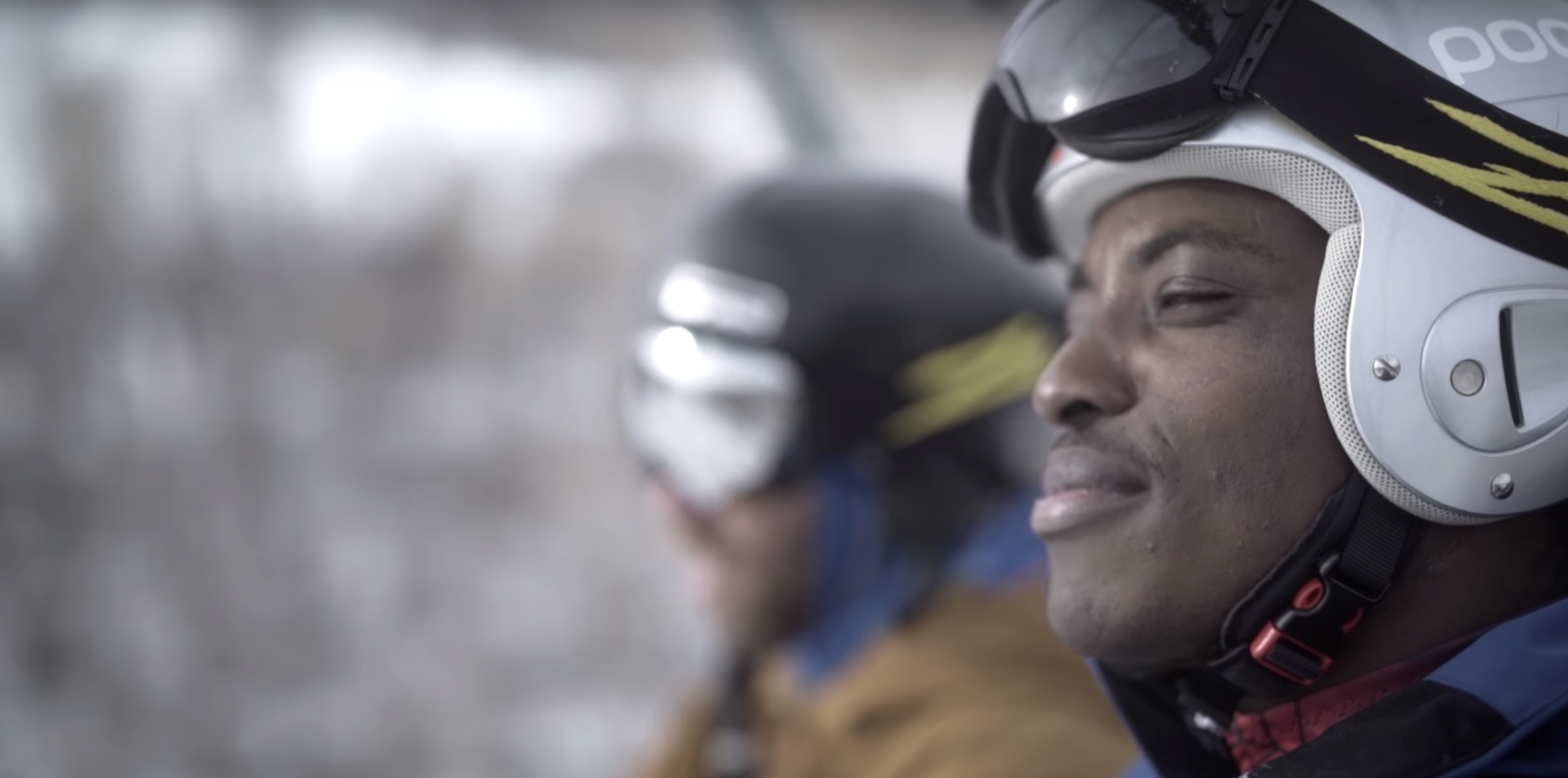 side profile of man in ski equipment