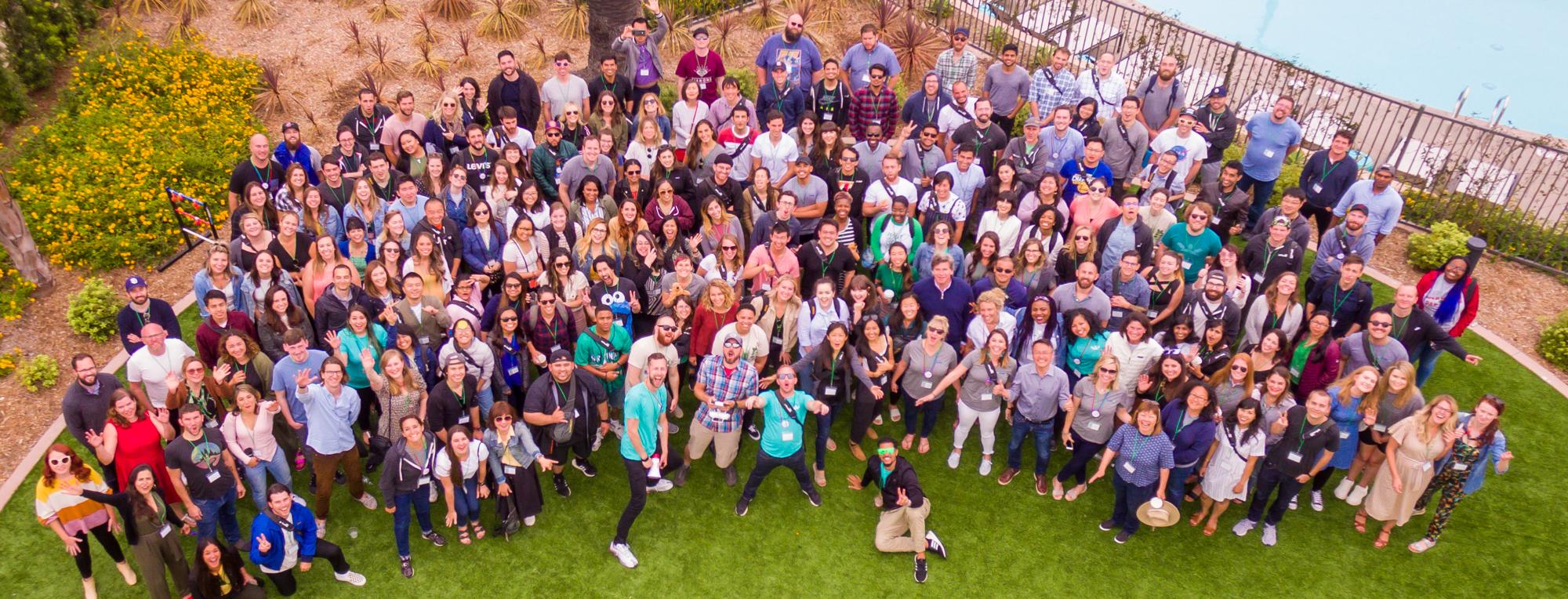 gofundme employee photo shot with drone