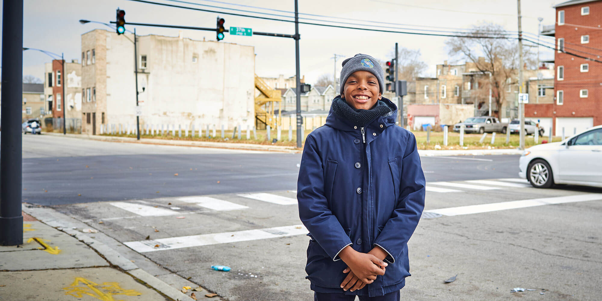 jahkil jackson standing on a street in Chicago