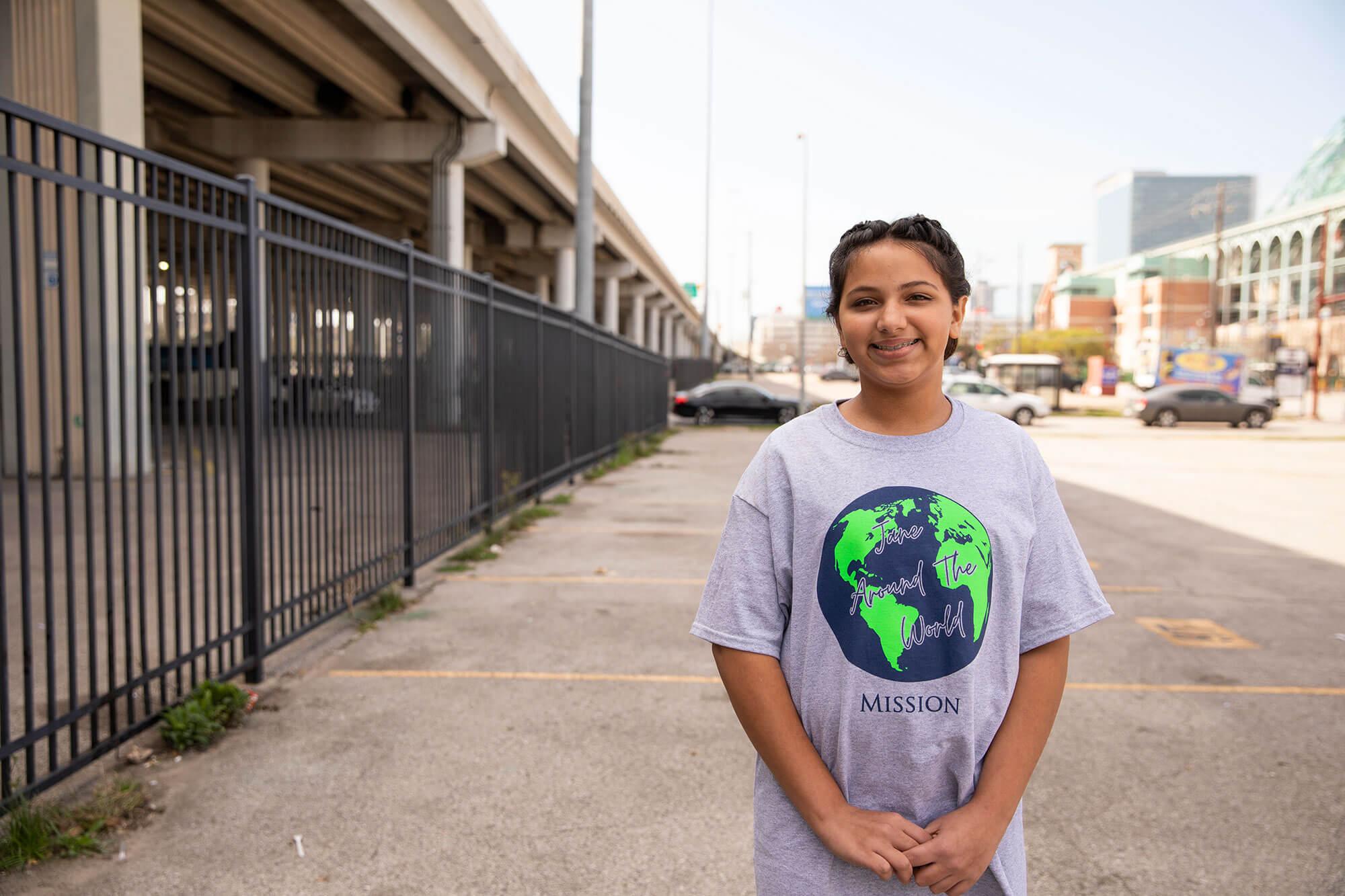 Jane Khan standing under an overpass where she is feeding homeless people.