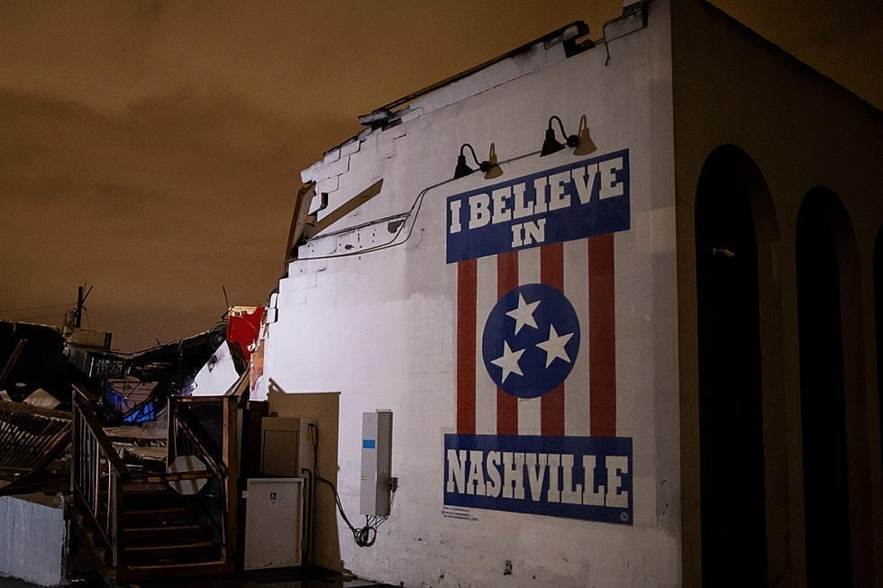 I believe in Nashville poster on an outdoor wall