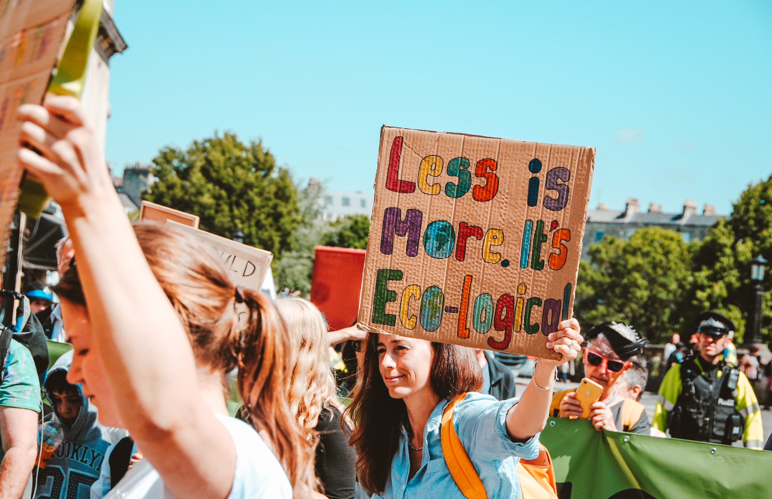 Young people at a climate change rally