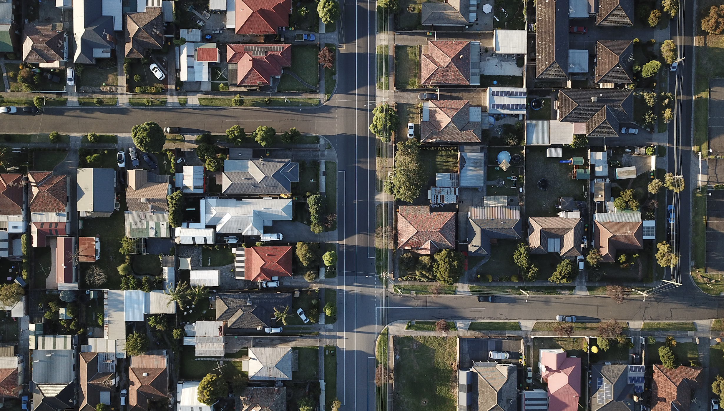drone view of the roofs of houses