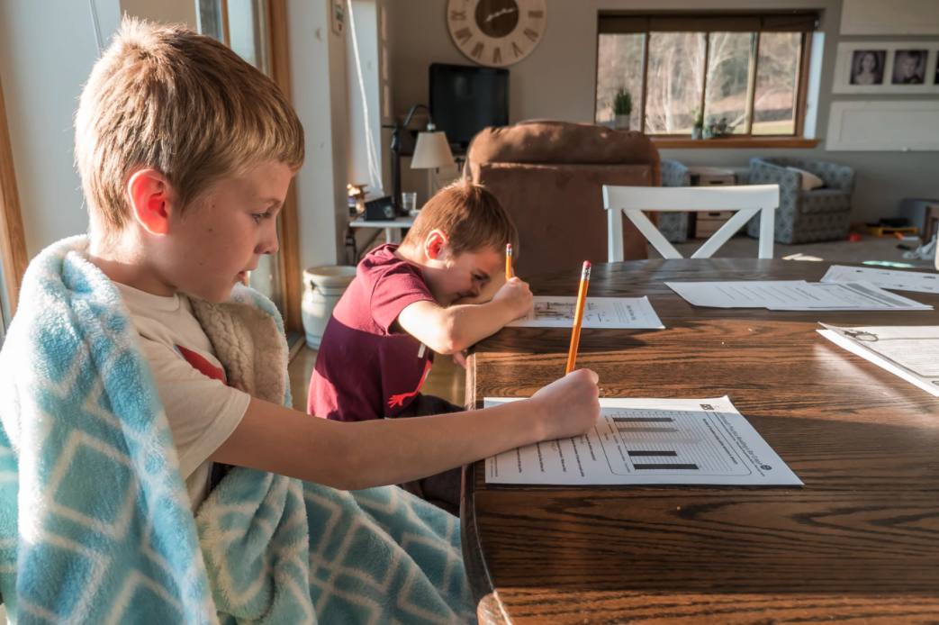 two boys doing school work from their own home