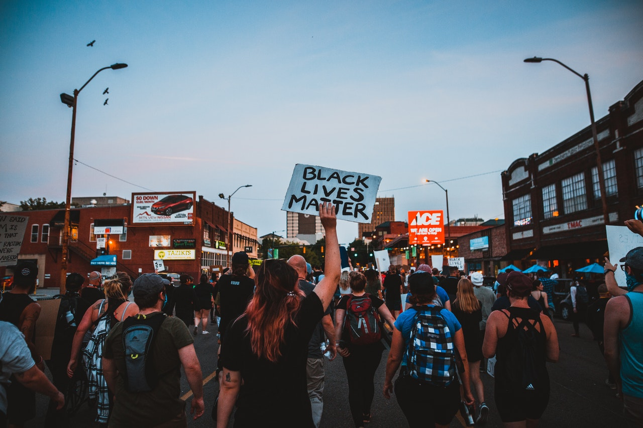 Protesters walking the streets to support Black Lives Matter