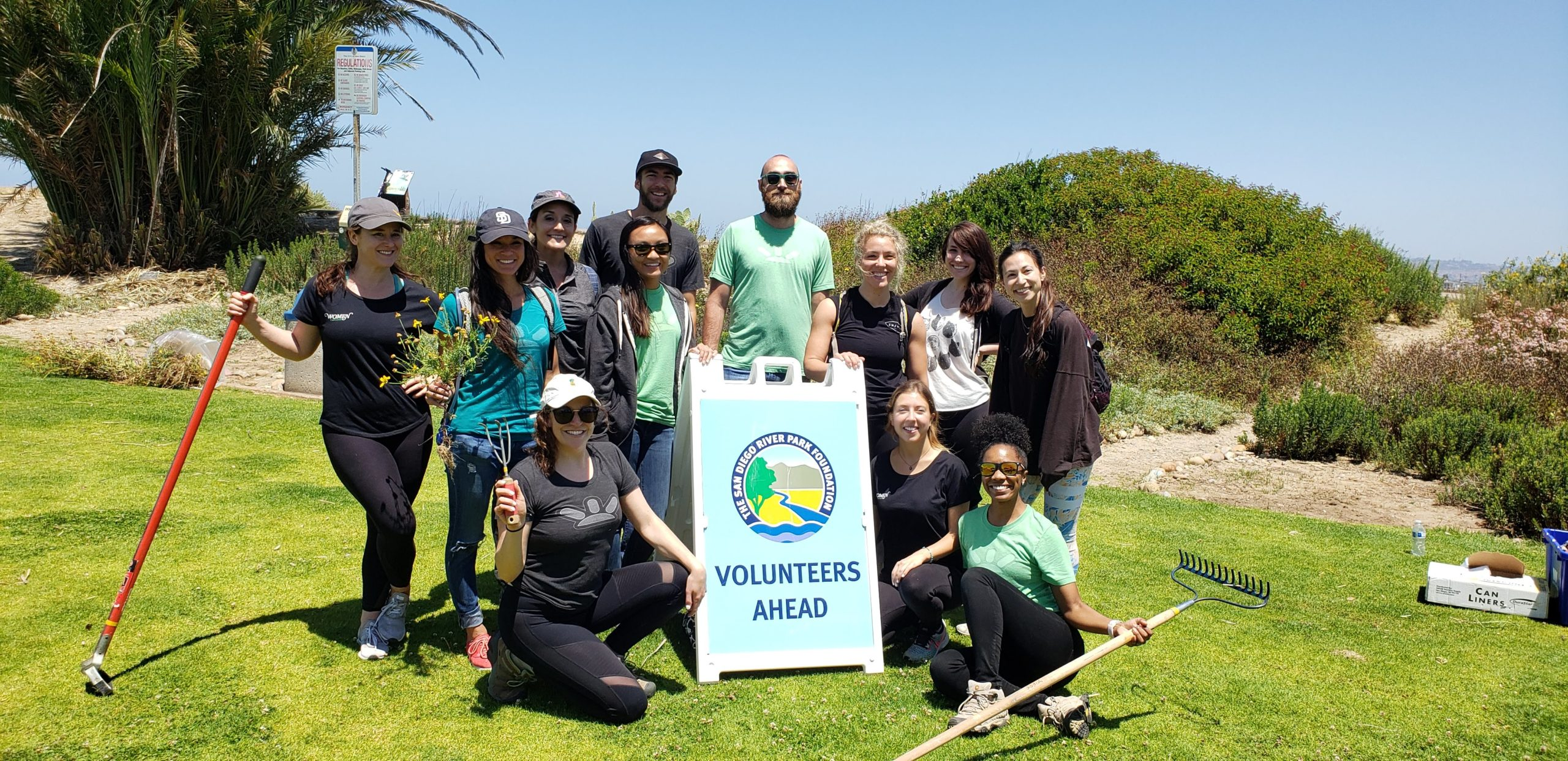 gofundme employees at a volunteer event