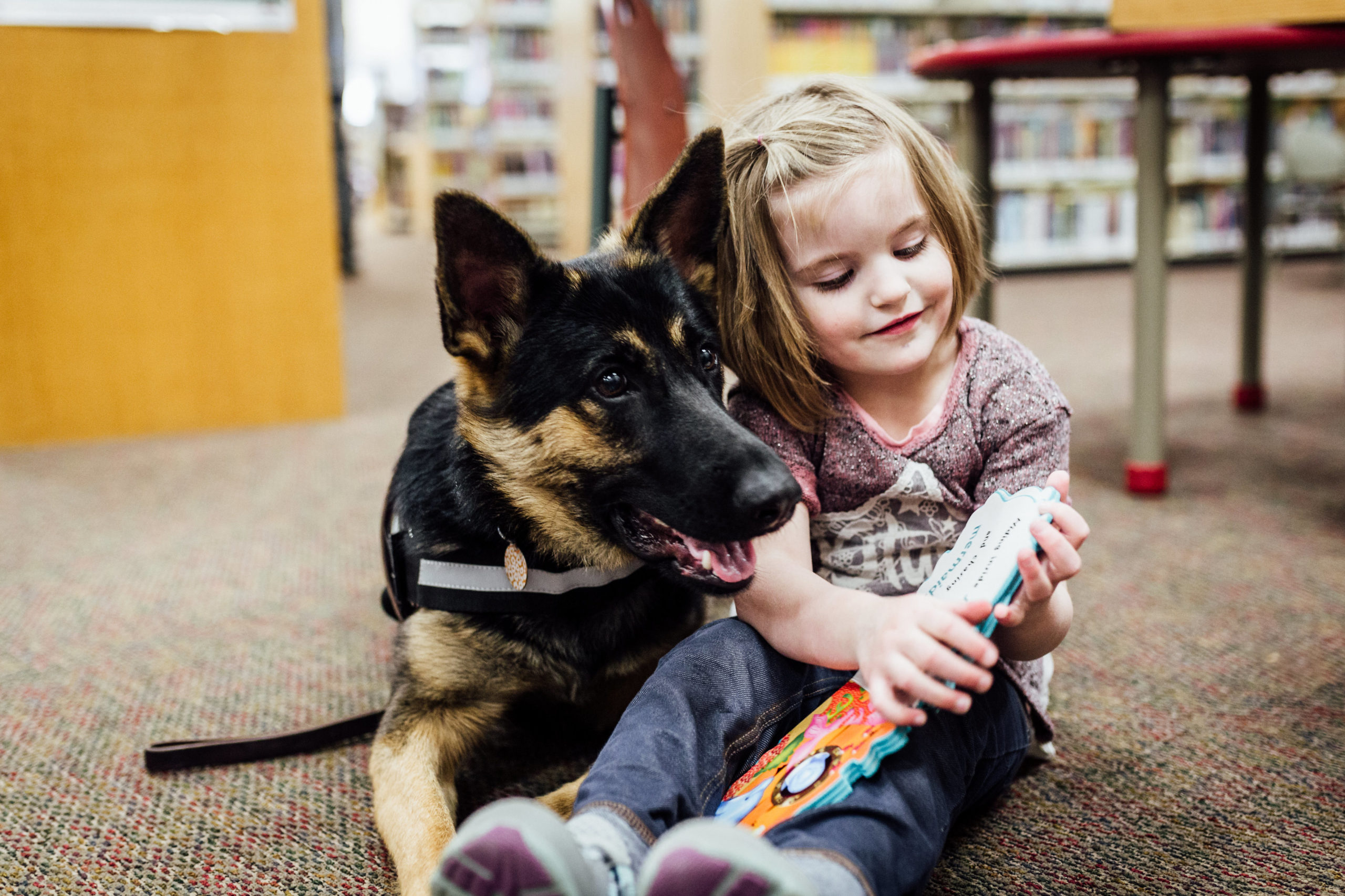 young girl in a library reading a book with her support dog