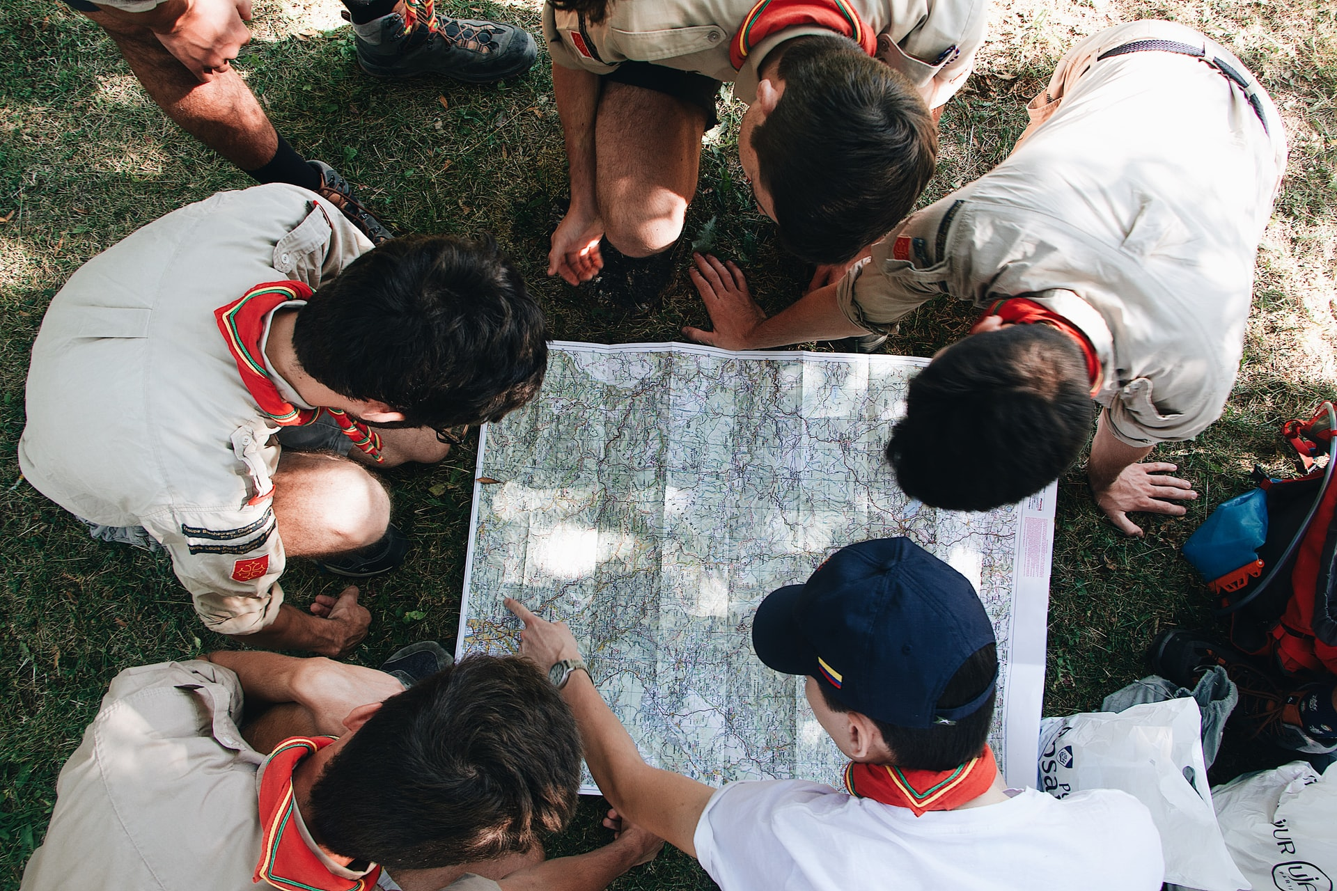 Scouts looking at a map together