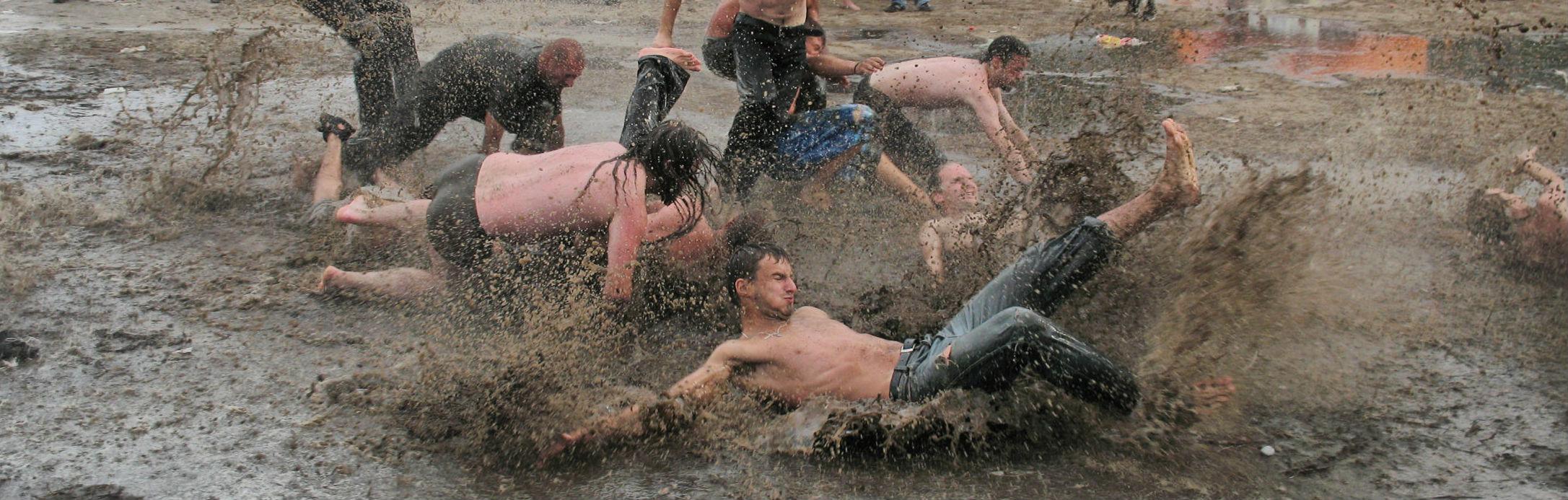 People in mud