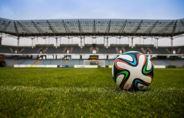 Football on an empty pitch