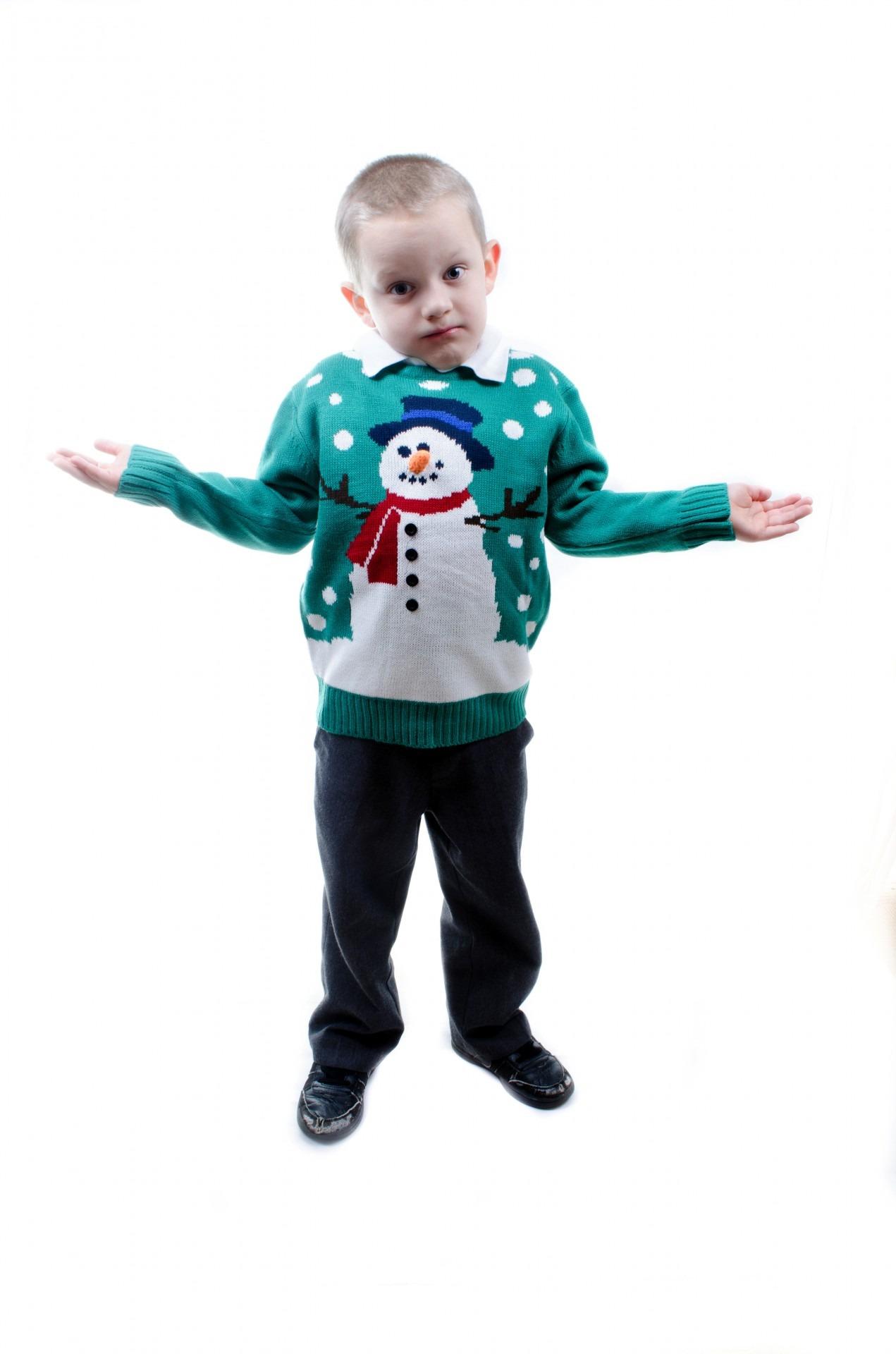 Boy in elf sweater