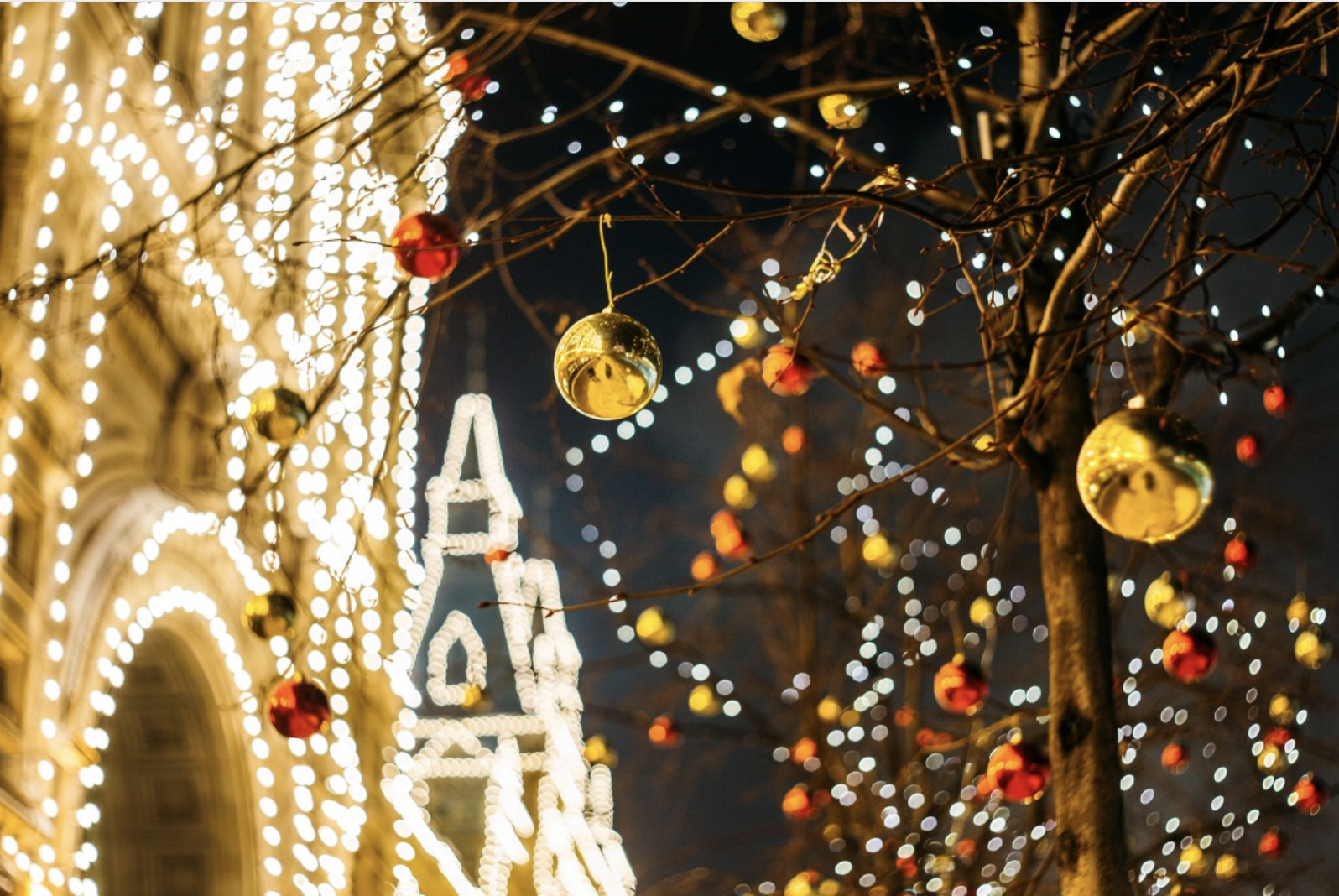 Christmas lights in a town
