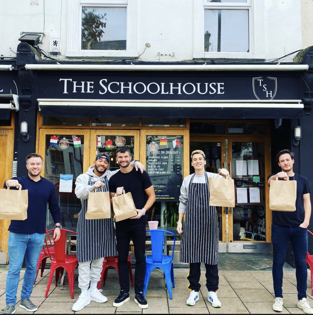 The Schoolhouse staff outside their restaurant